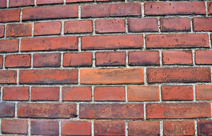 A wall of red bricks