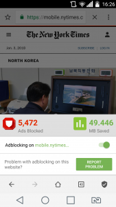Adblocking menu in Free Adblocker Browser